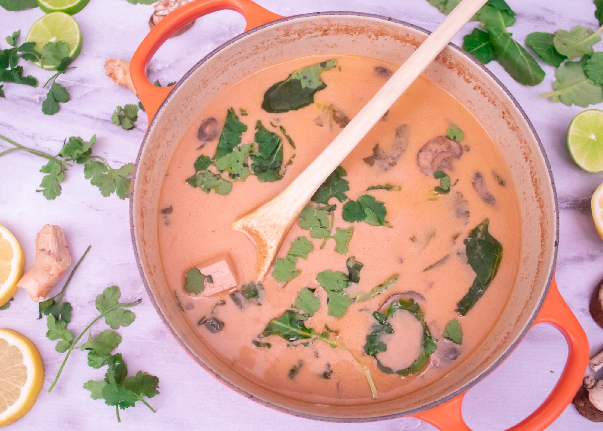 Easy Vegan Thai Coconut Soup (Tom Kha Kai) Main