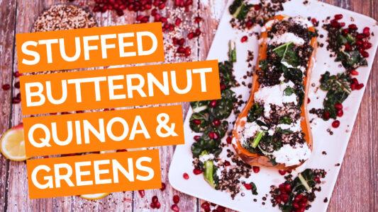 Stuffed Butternut Squash with Lentils, Greens & Quinoa video orange