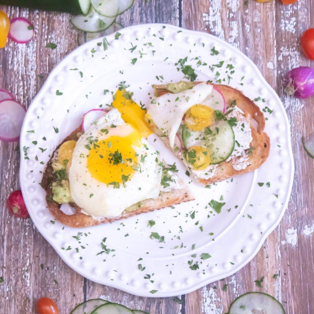 Breakfast Bruschetta with Egg, Avocado & Cucumber