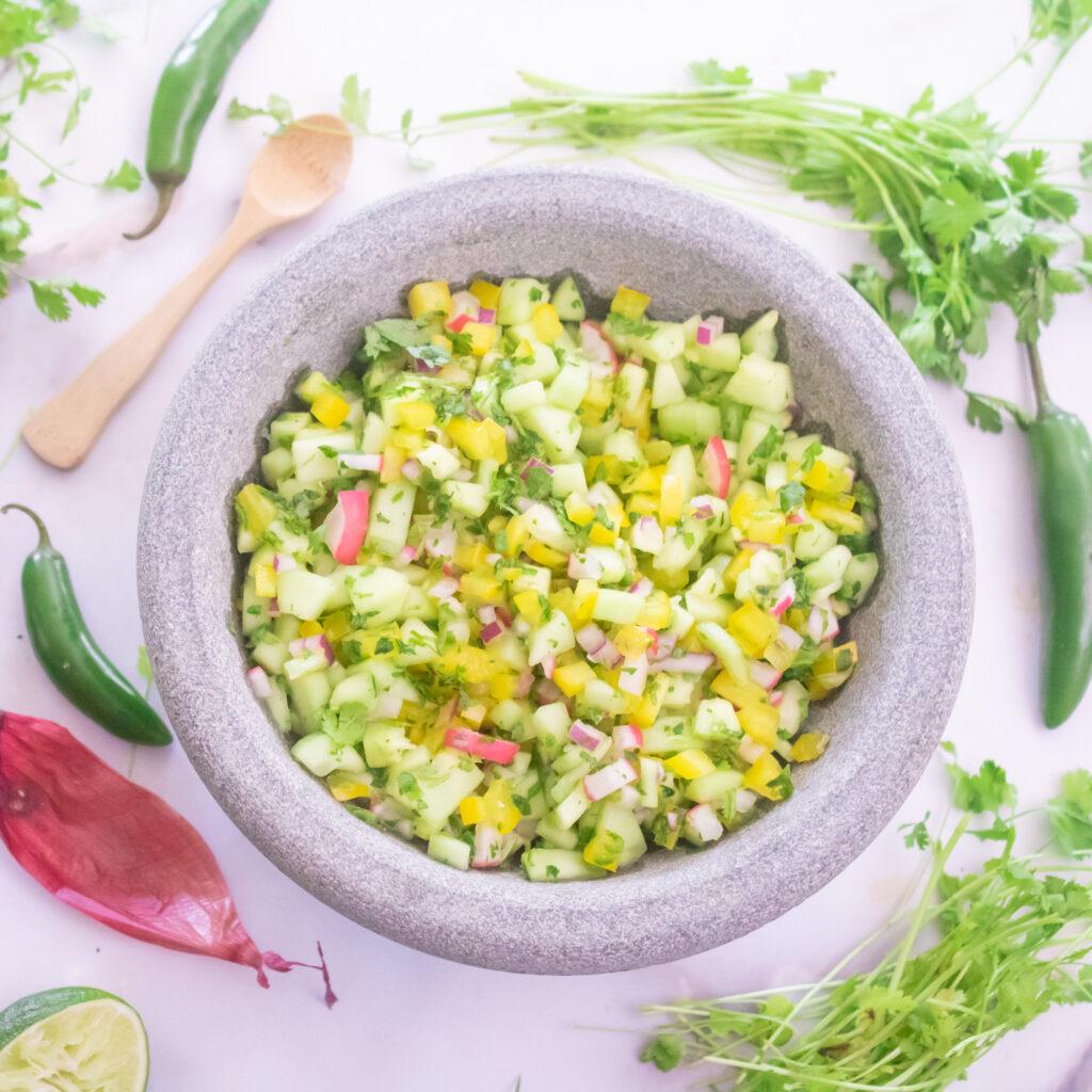Spicy Cucumber & Radish Salsa Recipe
