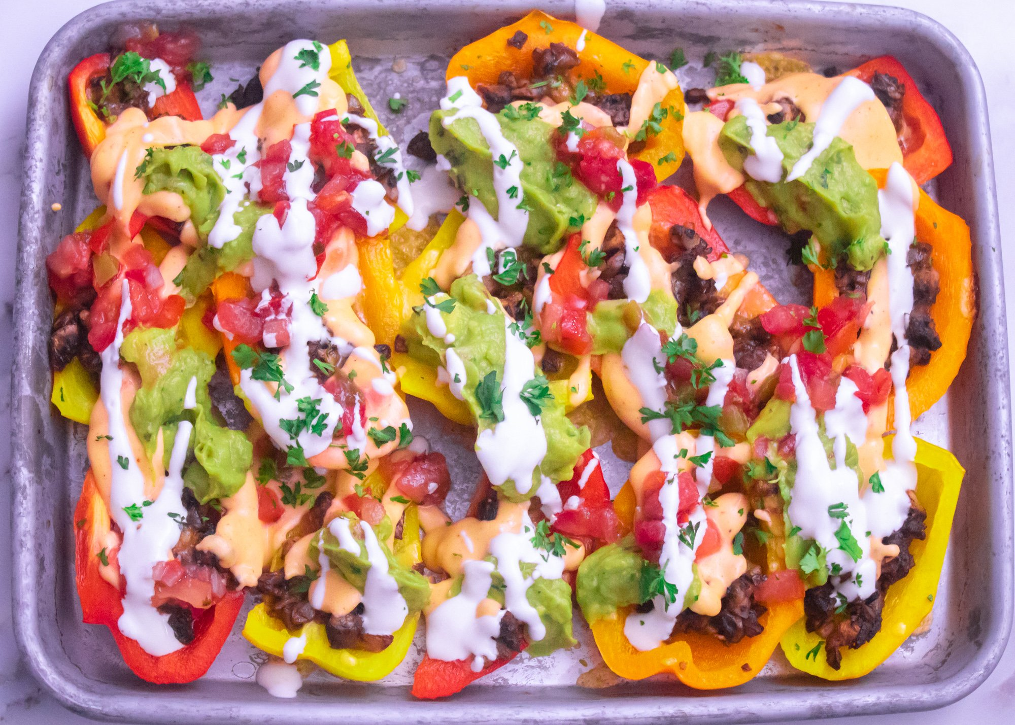 Bell Pepper Nachos with 1-Minute Cheese Sauce