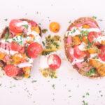 Cherry Tomato Hummus Toast with Pesto