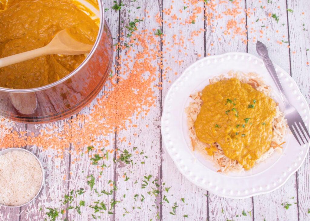 Easy Red Lentil Coconut Curry (Crock Pot Recipe)