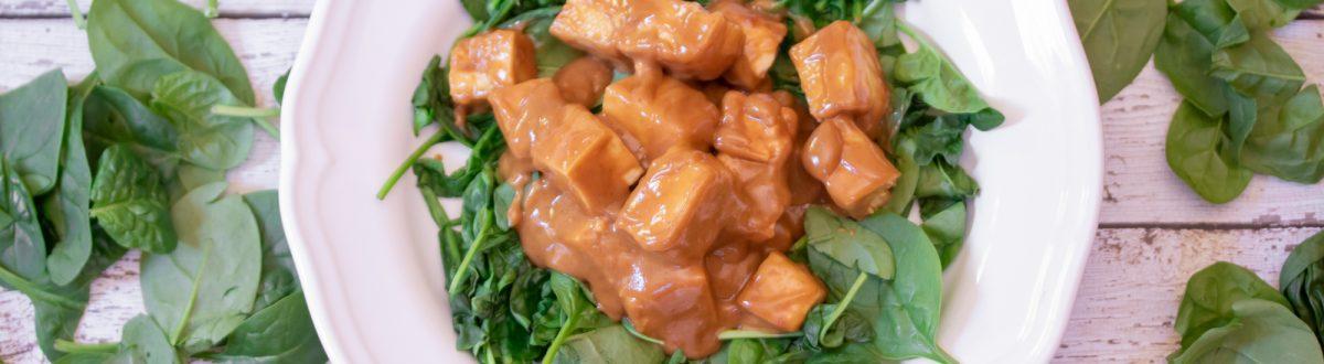 Easy Pra Ram Tofu with Roasted Spinach (Thai Peanut Sauce) Main