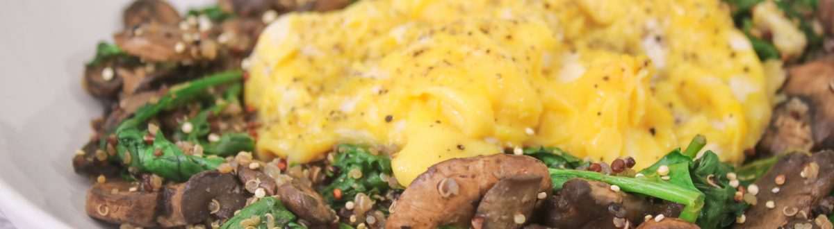 Soft Scrambled Eggs with Spinach Mushroom Quinoa Main 1