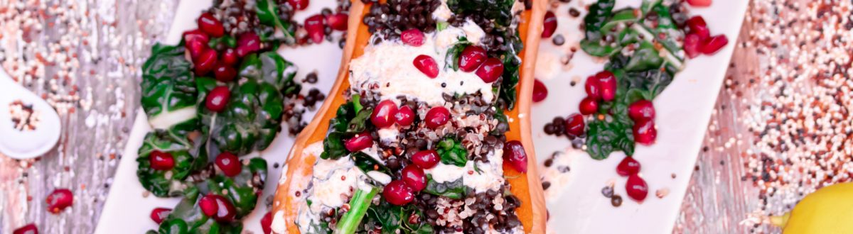 Stuffed Butternut Squash with Lentils, Greens & Quinoa Recipe